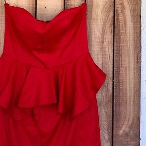 Red Peplum Strapless Dress